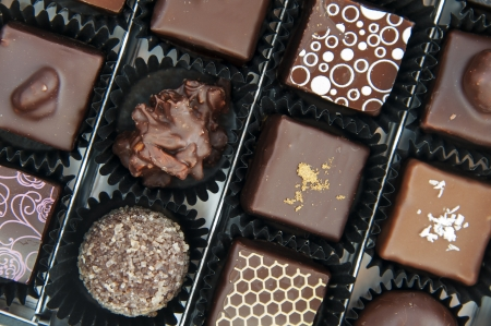 A box of various chocolate pralines - the photo is taken above Stock Photo - 17298157