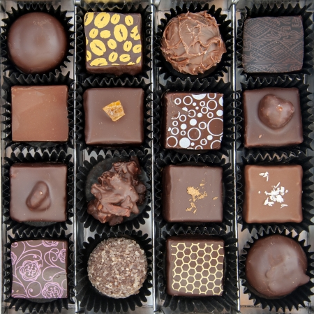 A box of various chocolate pralines - the photo is taken above Stock Photo - 17514012