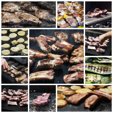 A collage of photos about barbecue cooking photo