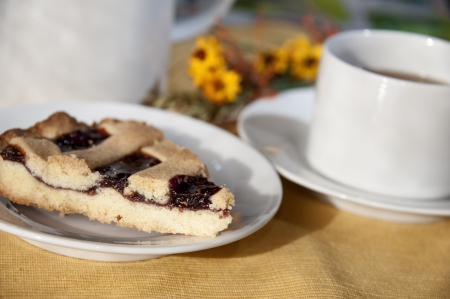 jam tarts: A slice of cake with a cup of tea - tea time concept Stock Photo