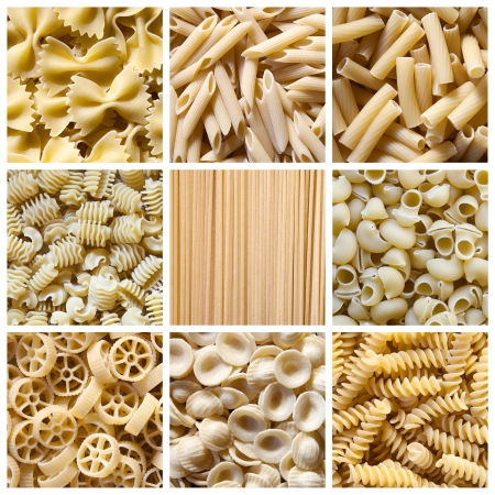 Different kinds of italian pasta  Food collage Stock Photo - 18095343