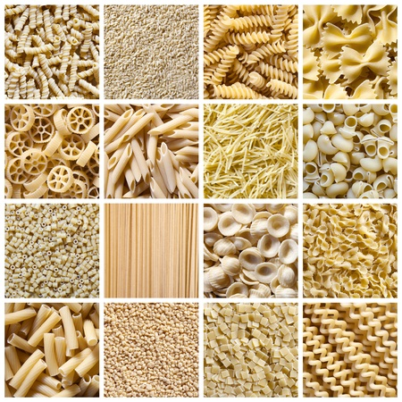 kinds: Different kinds of italian pasta  Food collage