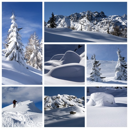 A collage of photos about winter time photo