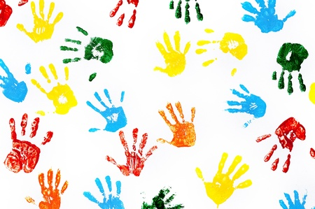 Hands prints made by children isolated on white background Stock Photo