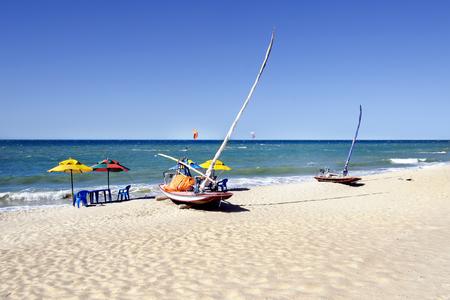 northeast: Jangada, small sailboat on the beach, Brazil Stock Photo