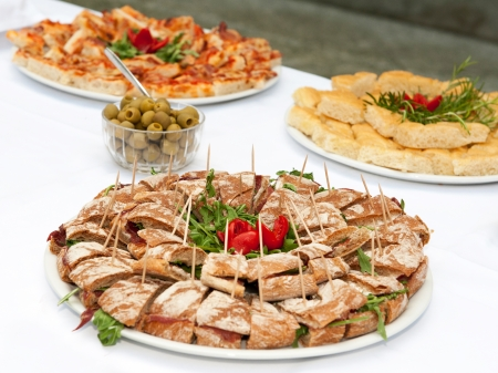Table full of mediterranean appetizers