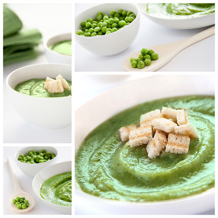 A collage of photos about vegetarian soup photo