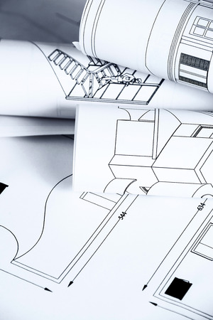 Architectural background with blueprints photo