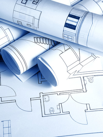 Architectural background with blueprints