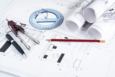 blueprints and work tools photo