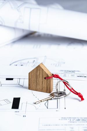 Closeup to key on house plan photo