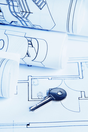blueprint house plan with key - blue tone photo