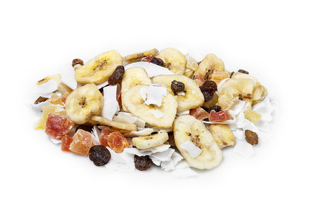 Mix dried fruits on white background photo