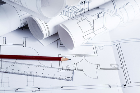 Architecture blueprints with pencil and ruler photo
