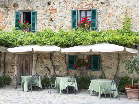 Traditional italian restaurant in Tuscany - Monteriggioni village photo