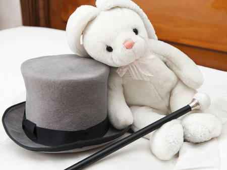 gentleman s: Tall hat and walking stick - Groom accessory with rabbit plush