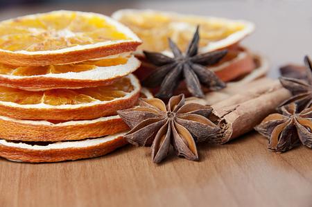 cinnamon stick: Spices decoration - anise stars, orange slices, cinamon sticks