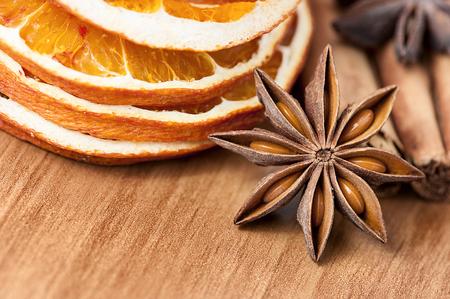 aniseed: Spices decoration - anise stars, orange slices, cinamon sticks