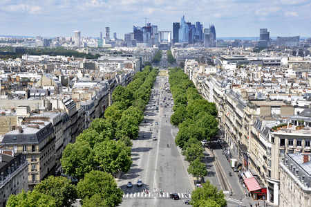 champs elysees quarter: View of Paris from the Arc de Triomphe. Defans Area.Paris.