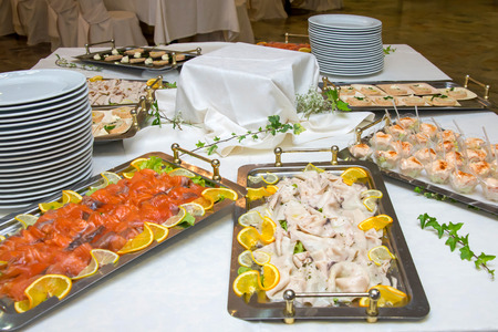 Wedding buffet with delicious appetizer photo