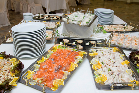 Wedding buffet with deliciuous appetizer photo