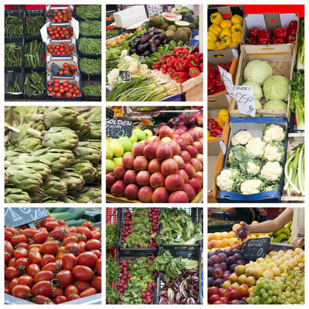Fruit and vegetables in greengrocer market - collage