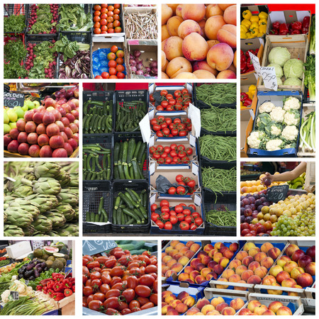 Fruit and vegetables in the greengrocer market - collage Stock Photo