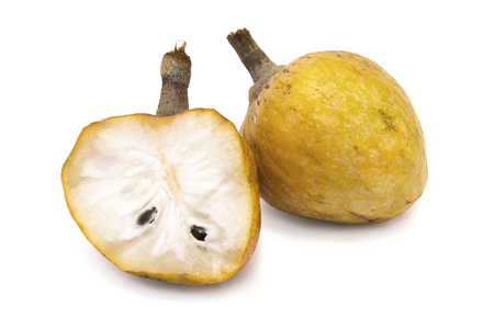 Annona scaly. Sugar apple fruit isolated on the white background. Organic custard apple, sweetsop fruit. Annona cherimola. Фото со стока