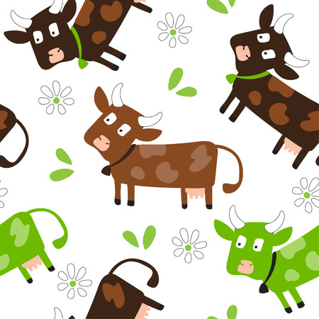 Vector patterns with fun cute cow and cow skin texture. For poster, print, wallpaper, banner. Backgrounds with grazing cows and cow dots