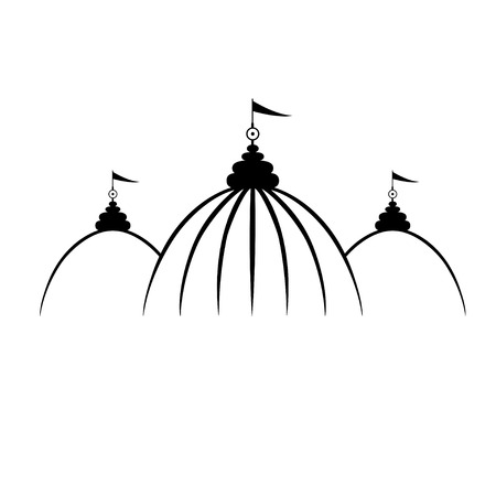 Indian arch and architecture. Hinduism symbol. Flat line vector architecture illustration of Indian temple . Outlined religion stroke icon. Religion building. For poster, flyer, web, banner, header.