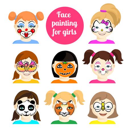 Iconos De Pintura De La Cara. Caras De Los Niños Con Pintura De Los ...