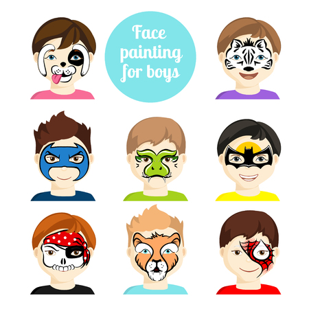 Face painting icons. Kids faces with animals and heroes painting. Vector illustration. Set of face painting for boys. Flat style cartoon vector illustration isolated on white. Cartoon characters.