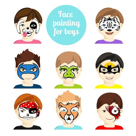 Gezicht schilderij iconen. Kinderen gezichten met dieren en helden schilderij. Vector illustratie. Set gezicht schilderij voor jongens. Platte stijl cartoon vectorillustratie geïsoleerd op wit. Stripfiguren.