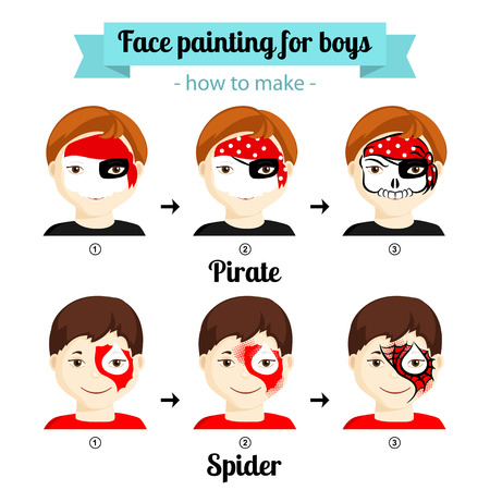Face painting icons. How to make kids faces with Pirat and Spiderman painting. Vector illustration. Set of face painting for boys. Flat style vector illustration isolated on white. Cartoon characters. Illustration