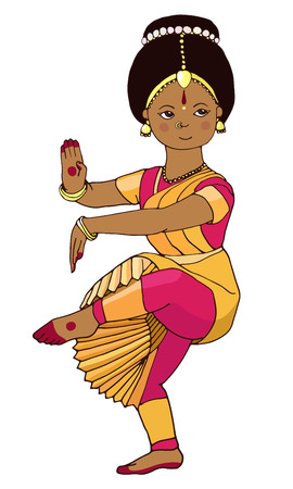 Hand-drawn dancing Indian girl. Beautiful girl dancing Indian classical dance. Illustration of Indian girl. Indian dance. little Indian dancer. Cute young Indian dancer. Indian stile. Illustration
