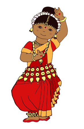 Hand-drawn dancing Indian girl. illustration of a girl dancing Indian classical dance. Cute little Indian girl. beautiful little dancer in traditional Indian stile.