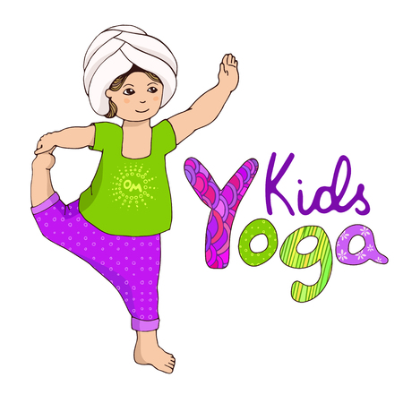 kundalini: Vector illustration for children yoga. Logo kids yoga. Cute girl doing kundalini yoga. Happy little girl in asana. Baby in yoga pose. Drawing yoga pose. Childrens healthy lifestyle. girl in turban.
