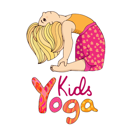 Hand-drawn girl doing yoga. Logo for children yoga. Cute girl in yoga pose. Baby yoga. Happy little girl in yoga asana. Gymnastics for children. cartoon yoga illustration. Colored girl on yoga class. Illustration