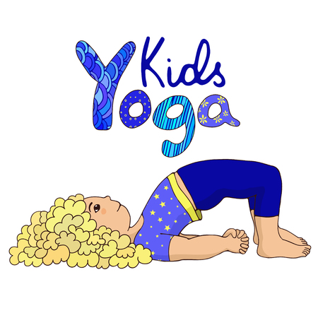 kids yoga. Little girl doing yoga. Hand draw girl with logo yoga kids. Cartoon girl in Bridge Pose. Hand draw Illustration for Yoga kids. Cute girl doing yoga. Illustration for children yoga
