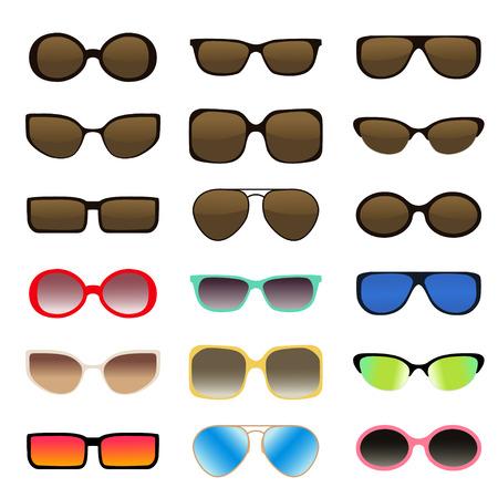 Sunglasses set - multicolored, isolated - vector illustration. sunglasses shapes - cats-eye, oval, wayfarer, aviator, RECTANGLE, retro, SQUARE, GEOMETRIC, BROWLINE, oval . Glasses frame set isolated on white