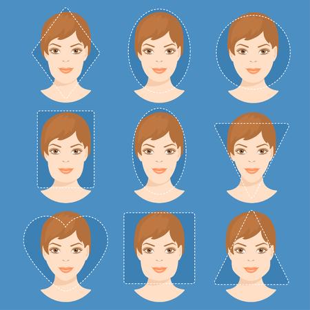 別の女の顔の形のセットです。女性の顔型。フォーム - 正方形、三角形、円、楕円、ダイヤモンドは、女性の顔の長い、ハート、四角形。株式ベク
