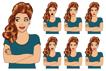 Vector set of beautiful brunette woman with different facial expressions - resentment, doubt, condemnation, tears, prayer, pain, joy, fun, laughter, attraction.