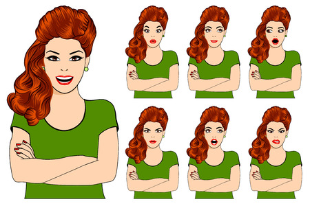 Vector illustration of beautiful redheaded woman with different facial expressions. Isolated set of woman avatar expressions face emotions vector illustration.