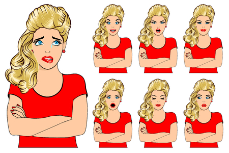outrage: Vector set of beautiful blonde woman with different facial expressions - tears, sorrow, pain, joy, laughter, outrage, surprise, doubt, kindness, peace, serenity.