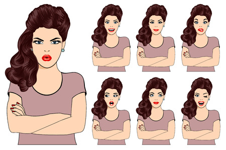 Vector illustration of beautiful brunette woman with different facial expressions. Isolated set of woman avatar expressions face emotions vector illustration.