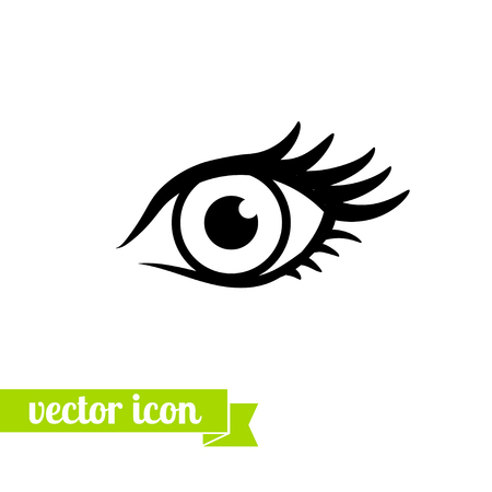 Eye icon vector, flat eye icon , icon for web design, stock vector, Eye with eyelashes, beautiful female eyes with long eyelashes, logo, eye close up, vision, view icon, look pictogram Illustration