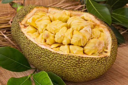 신선한 잘 익은 jackfruit. 신선한 달콤한 jackfruit 세그먼트 먹을 준비가입니다. 잭 프룻 절단. 신선한 달콤한 Jackfruit 세그먼트 먹을 준비가입니다. 열대