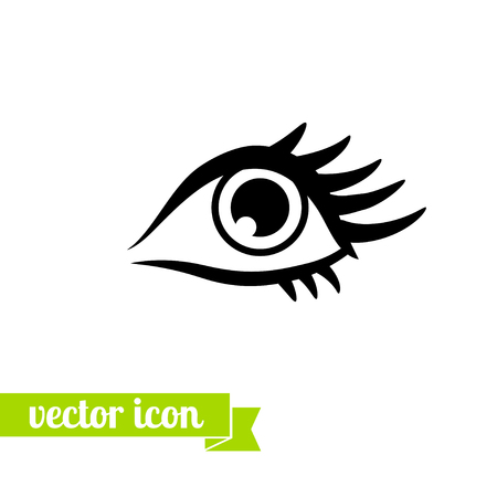 Eye icon vector, flat eye icon , icon for web design, stock vector, Eye with eyelashes, beautiful female eyes with long eyelashes, logo, eye close up, vision, view icon, look pictogram 向量圖像