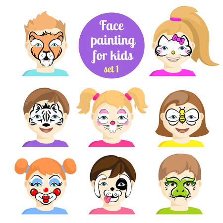 Face painting icons. Kids faces with animals painting. Vector illustration. Set of face painting for boys and girls. Flat style cartoon vector illustration isolated on white. Cartoon characters.  イラスト・ベクター素材