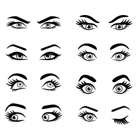 漫画目のセットです。装飾的な目アイコンを分離しました。女性目のベクター イラストです。別の目の式。女性分離ベクトルの目と眉毛のシルエッ